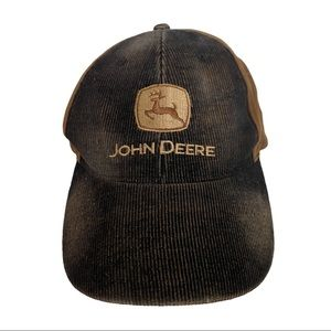 John Deere distressed brown cotton adjustable cap